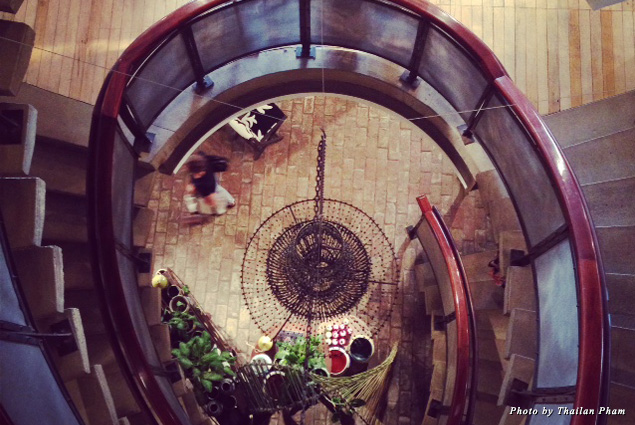 Looking down the spiral staircase at Anthropologie's flagship store