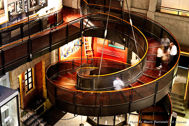 Temple Hall and the spiral ramp inside National Cinema Museum