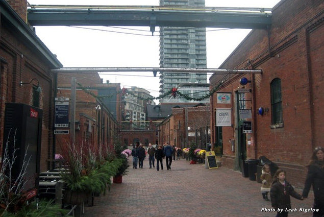 Brick buildings and streets make up the Distillery Historic District