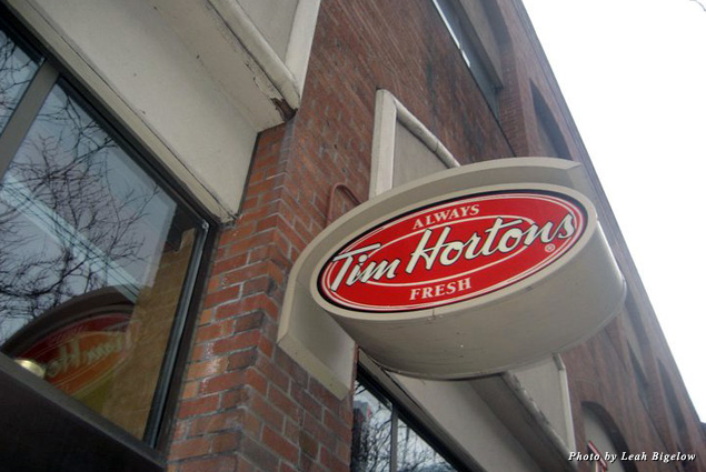 A sign for quick-service chain Tim Hortons, founded by a Canadian hockey player