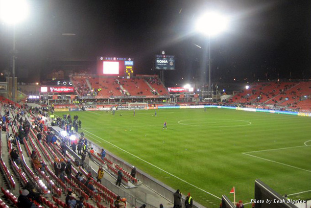 Looking out at BMO Field before the 2010 MLS Championship game
