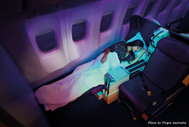 Seats turn into flat beds in Business Class of Virgin Australia's Boeing 777