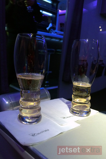 Sparkling wine to kick-off the 14-hour flight from LAX to Brisbane