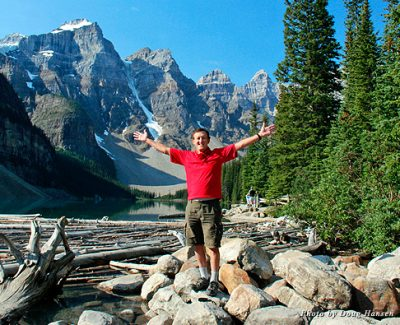 The author shows his delight with the Canadian Rockies at Moraine Lake