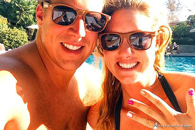 Newlyweds by the pool, enjoying the perfect San Diego climate