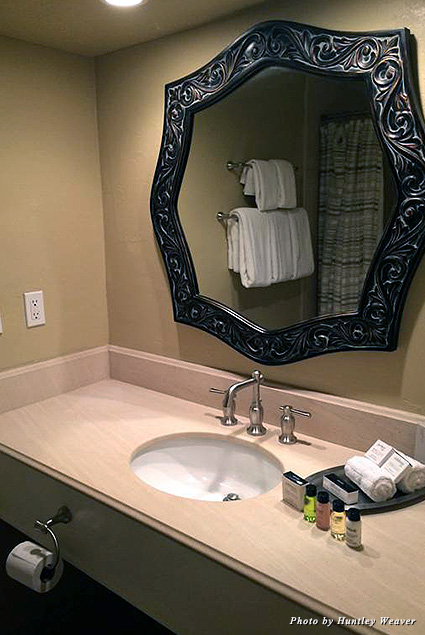 Beautiful, expansive bathrooms were a real treat, and we loved the cozy bathrobes!