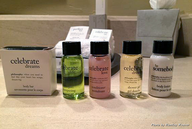 Bath products from Philosophy were a nice touch. Who doesn't love affirmations?