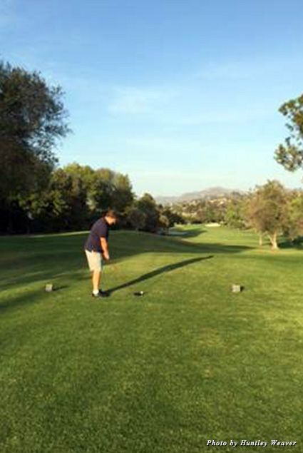 Hunter on the golf course
