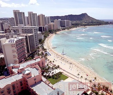 An overhead view of Honolulu at the Sheraton Waikiki Hotel