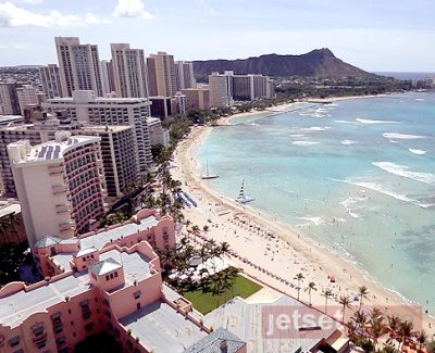 An overhead view of Honolulu at the Sheraton Waikiki Hotel