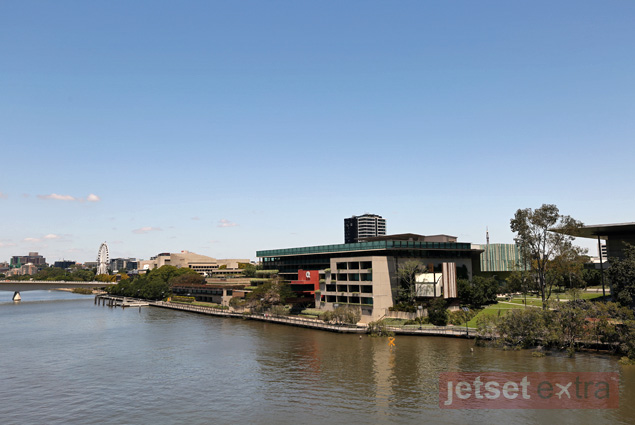 Art museums, the library, and the performing arts center line the Brisbane River in South Bank