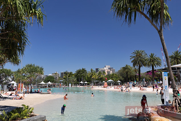 A riverside beach in the South Bank Parklands