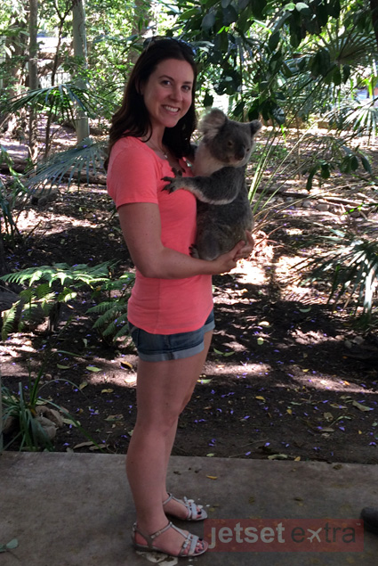 Cuddling with a koala at the Lone Pine Koala Sanctuary