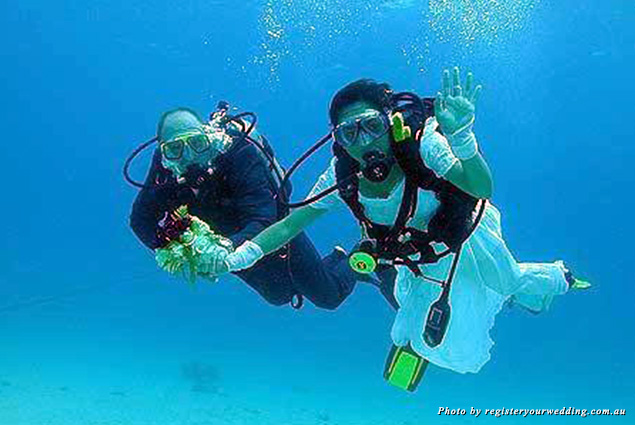 A couple getting married in the Great Barrier Reef