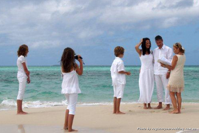 A wedding on a sand key in the Great Barrier Reef