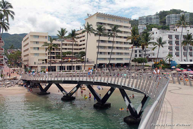 The waterfront in Downtown Puerto Vallarta includes the new Los Muertos Pier