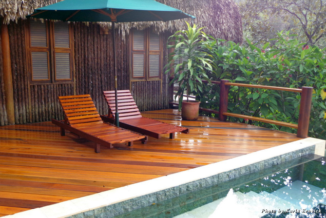 Deck and private plunge pool at Blancaneaux in Belize