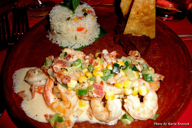 A shrimp and rice dish