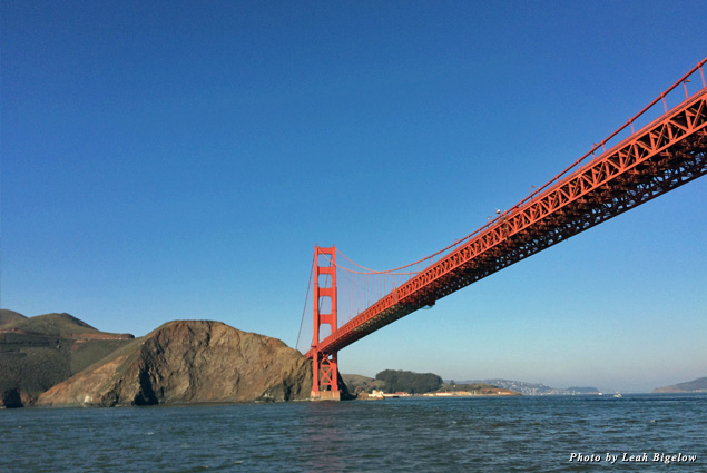 View of the Golden Gate Bridge stretching to Marin County