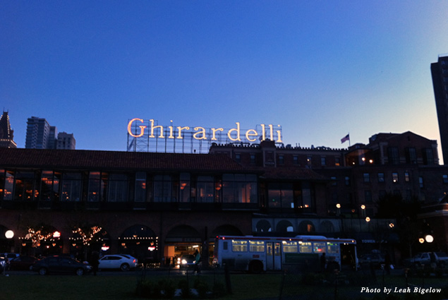 "The name ""Ghirardelli"" in lights about Ghirardelli Square"