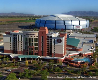 Birds-eye view of the University of Phoenix Stadium and Renaissance Glendale Hotel and Spa