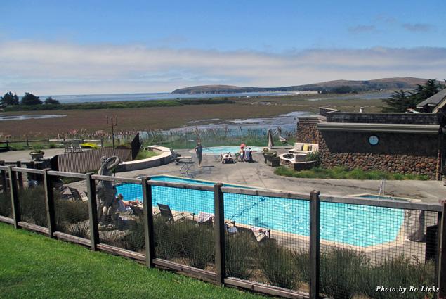 Looking out at the pool at Bodega Bay Lodge