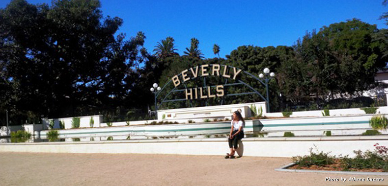 "The famous ""Beverly Hills"" sign is the centerpiece at Beverly Gardens Park, a public linear park created in 1911"