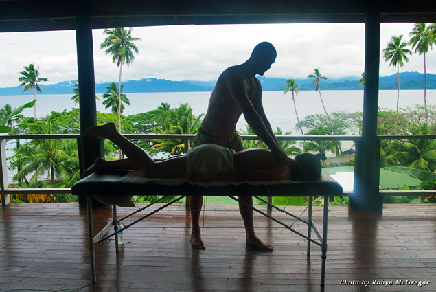 Views of Fiji provide the backdrop for a massage at Daku Resort