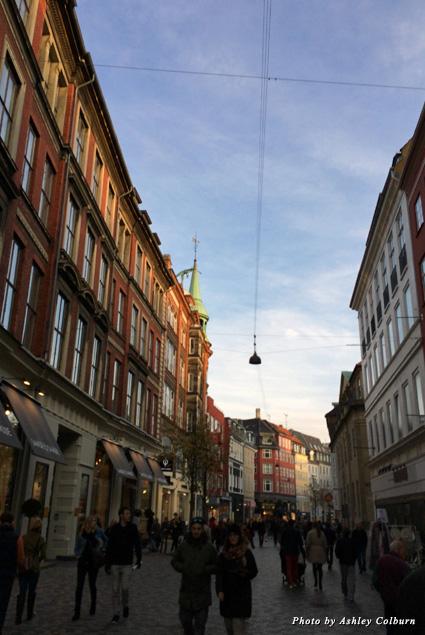 Buildings line a street in Copenhagen