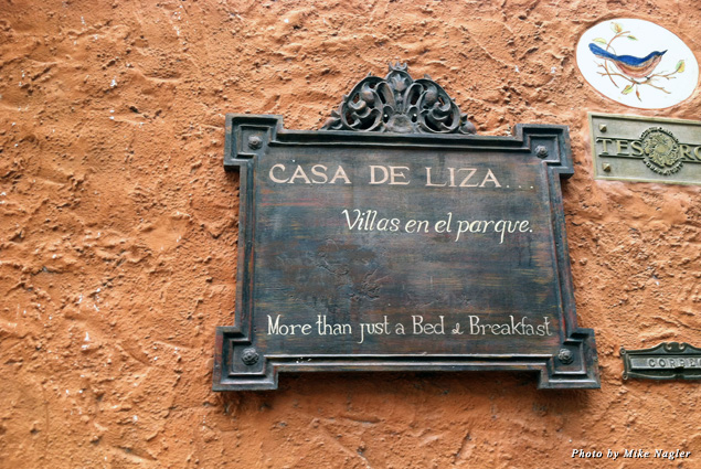 A typical street sign in San Miguel