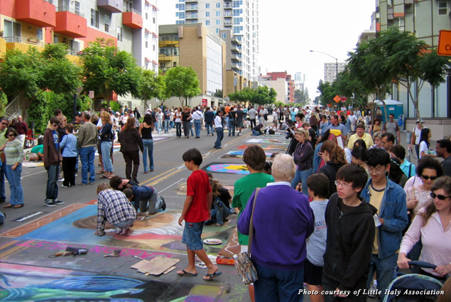 Creative sidewalk chalk art takes center stage at the annual Little Italy FESTA! event