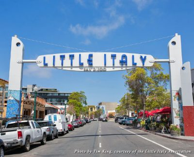 One of the centerpieces of San Diego's Little Italy is its Little Italy sign