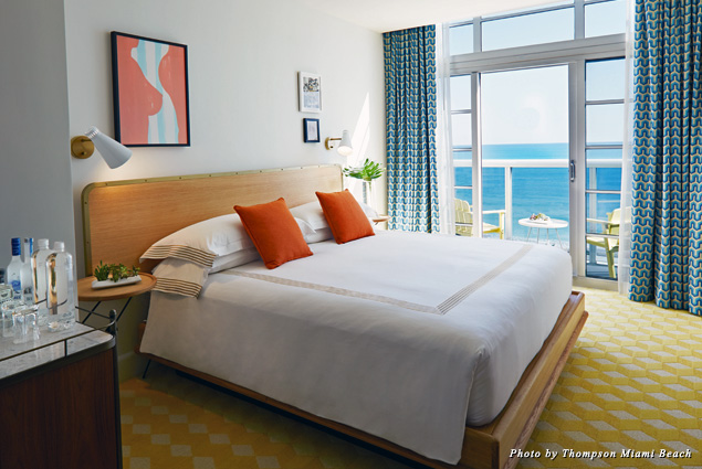 Oceanfront Balcony King guest room at the Thompson Miami Beach