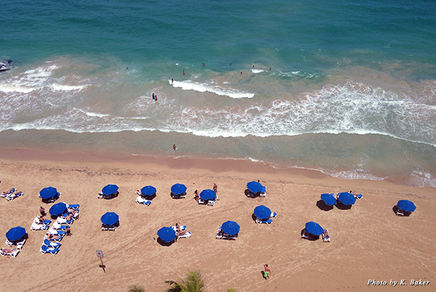 Umbrellas dot the beach in San Juan