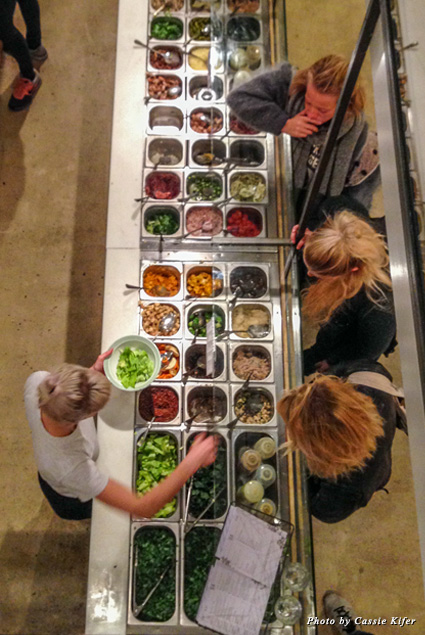 Overhead view of the salad bar at SLA