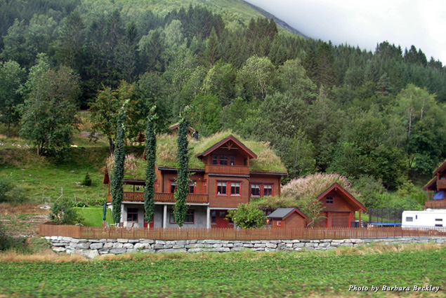 Storybook-like sod-roofed cottages dot the meadows of Trollstigen Pass