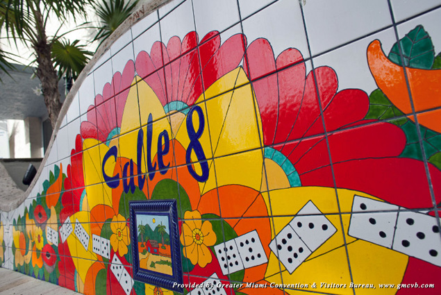 "Little Havana mural with dominoes and the words ""Calle 8"""