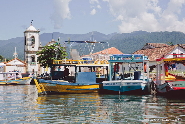 Boats docked in Paraty