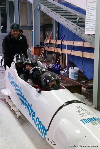 Sitting in the bobsleigh ready to slide Olympic-style at the Whistler Sliding Centre