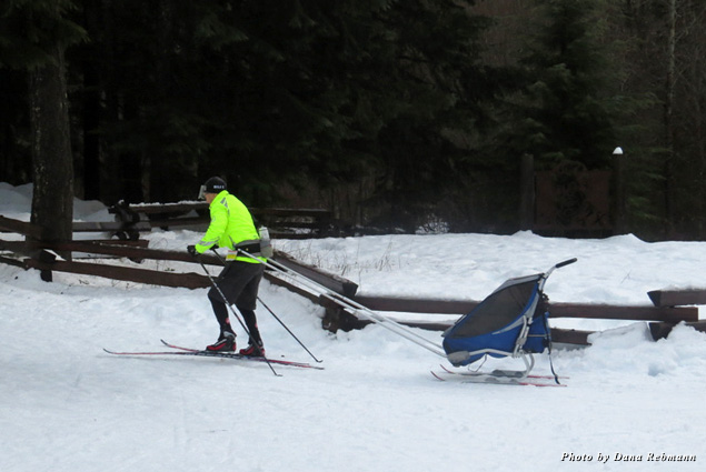 A cross-country skier shuffles for two