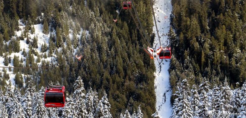 Ride the Peak 2 Peak Gondola connecting Whistler and Blackcomb Mountains