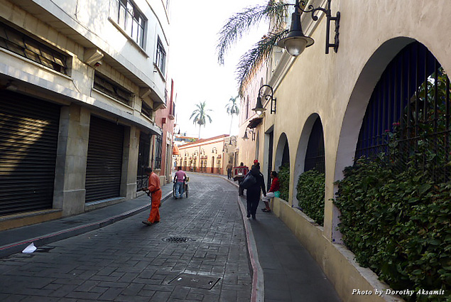 Winding street beside the Hotel Iberia that leads to Calle Hidalgo, the principal tourist street