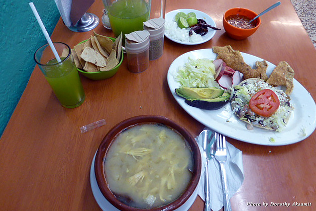 At  El Barco Pozoleria rich chicken soup with hominy and all the condiments turns comfort food into a feast