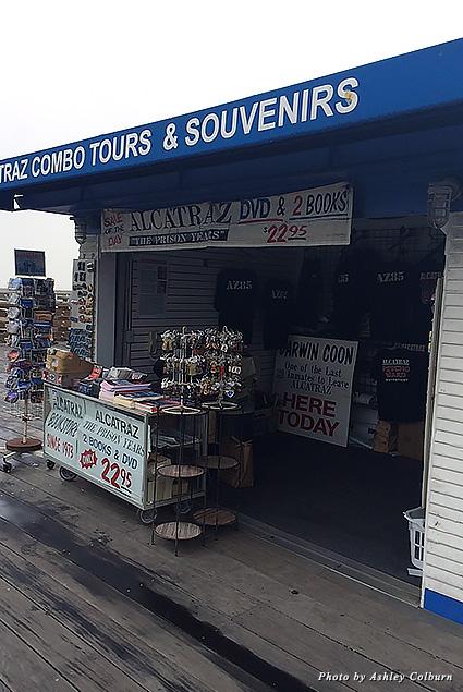 A booth near Pier 39 offering Alcatraz tour tickets