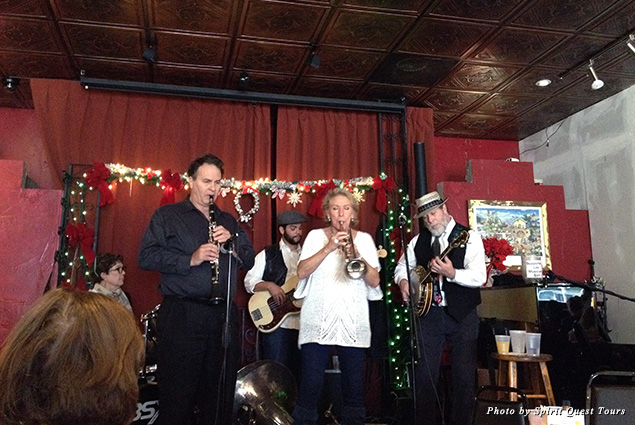 Brass jazz band plays on stage at Buffa's