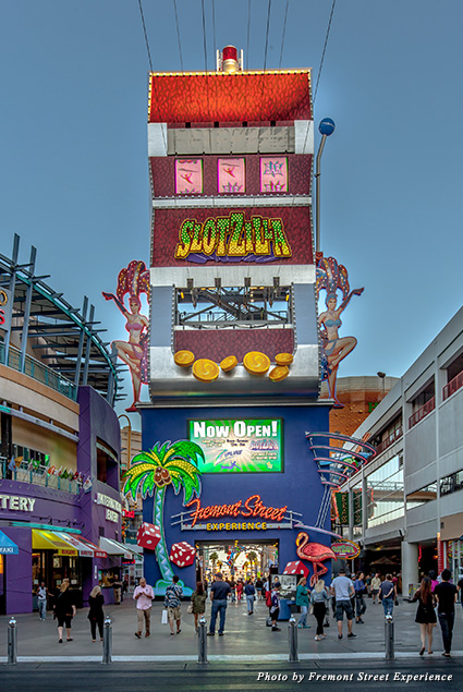 The Fremont Street Experience's SlotZilla zip line