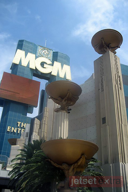 Looking up at the MGM Grand exterior