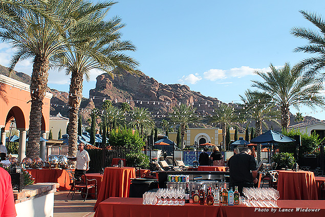 Setup for a special event outside the Kasbah Pool