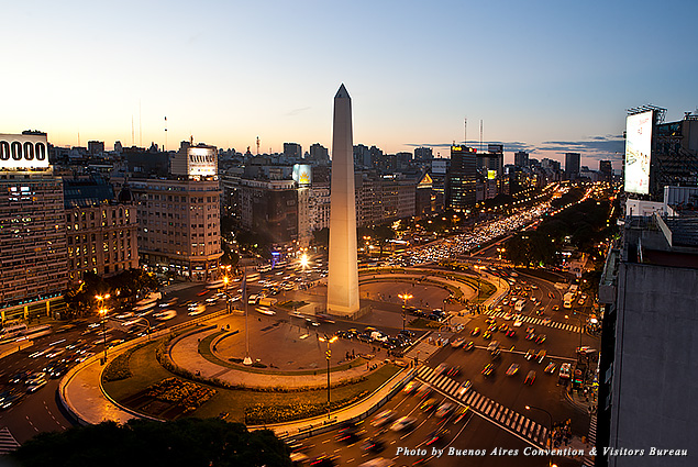 Obelisco and Avenida 9 de Julio, the widest avenue in the world, in Buenos Aires