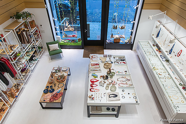 Display of curated, locally made goods sold at Patrón
